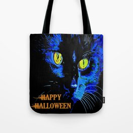 Black Cat Portrait with Happy Halloween Greeting  Tote Bag
