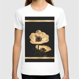 Anemone Flowers, Black with Golden Frame, Floral Nature Photography T-shirt
