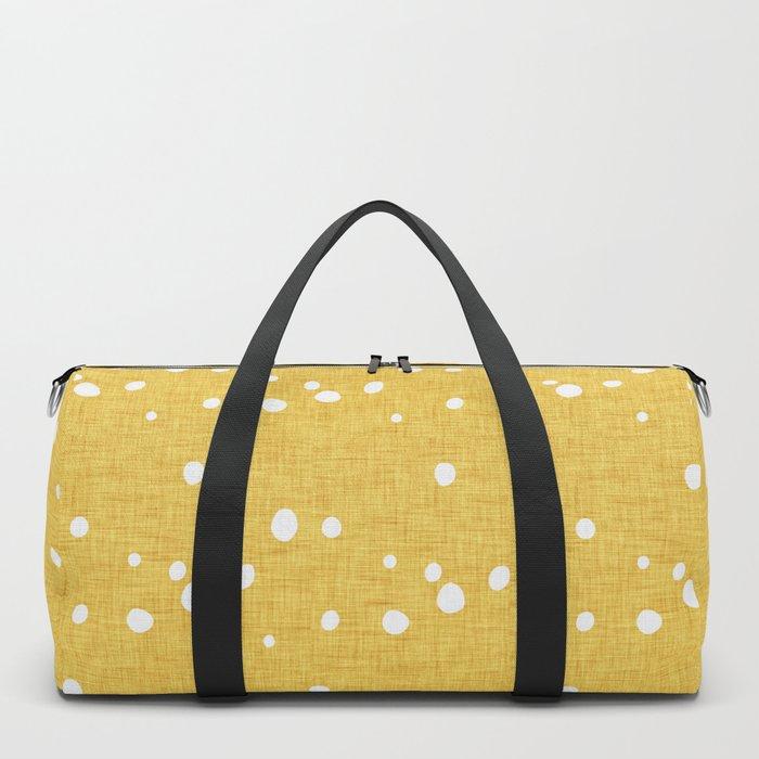 Modern Farm House Polka Dots Mustard Duffle Bag