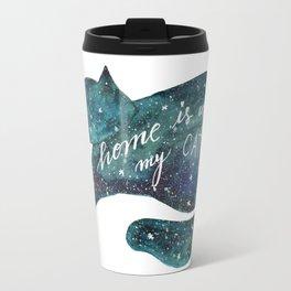 Watercolor galaxy cat – turquoise Travel Mug