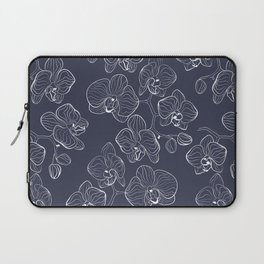 Retro . Orchid flowers on a blue background . Laptop Sleeve
