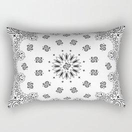 Bandana - White - Paisley - Southwestern Rectangular Pillow