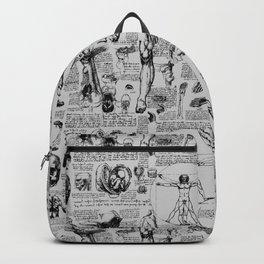 Da Vinci's Anatomy Sketchbook // Silver Backpack