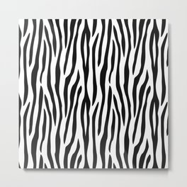 Abstract black white geometrical zebra animal print Metal Print