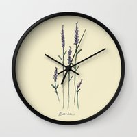lavender Wall Clocks featuring Lavender by kayse wieneke