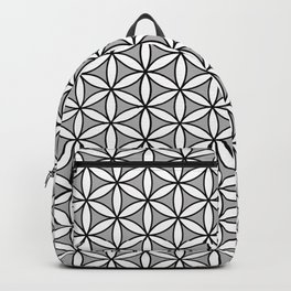 Flower of Life Pattern BW on Gray Backpack