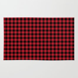 Winter red and black plaid christmas gifts minimal pattern plaids checked Rug