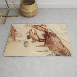 Big red Lobster kitsch illustration art Rug