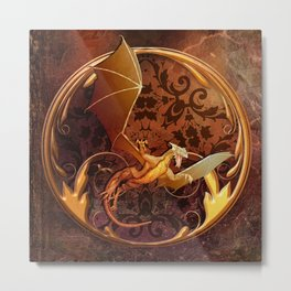 Gold Dragon Emblem on Faux Leather Metal Print