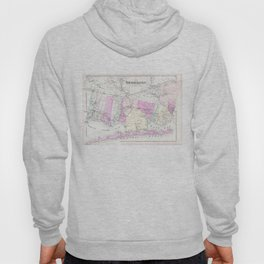 Vintage Brookhaven and Fire Island NY Map (1873) Hoody