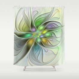 Colors Make My Day, Abstract Fractal Art Shower Curtain