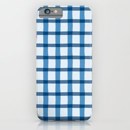 Blue and White Jagged Edge Plaid iPhone Case