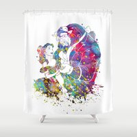 beauty and the beast Shower Curtains featuring Beauty and the Beast by Bitter Moon
