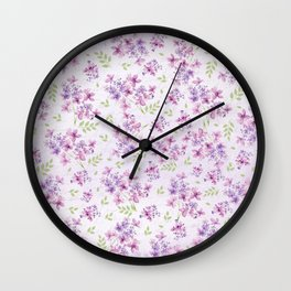 Little Purple and Pink Flowers Wall Clock