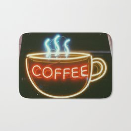Coffee Shops and Neon Lights Bath Mat