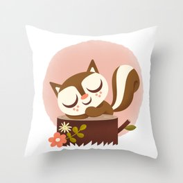 Sleeping Squrrel - Cute Animals Throw Pillow
