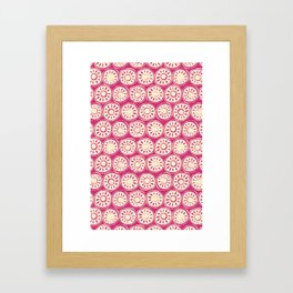 flower block ivory pink Framed Art Print