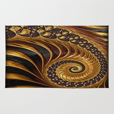 Elegant Black Gold Shell Rug