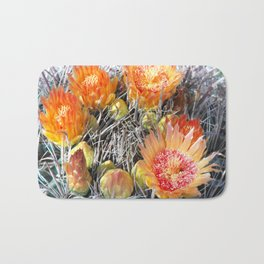 Barrel Cactus in Bloom, Yellow Flowers and Fruit Bath Mat