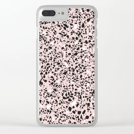 'Speckle Party' Soft Pink Black White Dots Speckle Terrazzo Pattern Clear iPhone Case