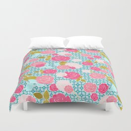 Blue & Pink Roses Allover with Geometric Pattern and Gold Duvet Cover