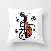cello Throw Pillows featuring Cello by Ewen Prigent