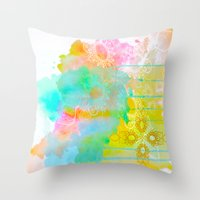 water color Throw Pillows featuring Water Color by Madi Es