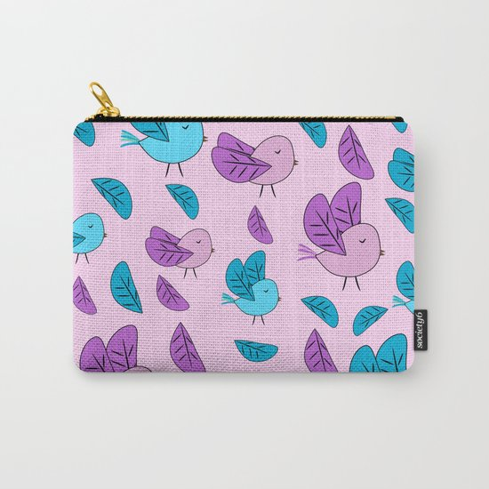 Birds in blue and pink Carry-All Pouch