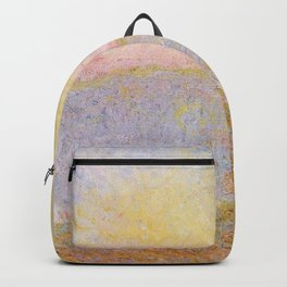 Haystacks, (Sunset) by Claude Monet Backpack