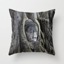 Buddha Head in Tree Throw Pillow