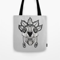 animal skull Tote Bags featuring Animal skull by SilviaGancheva