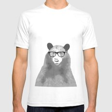 Halftone Hipster Bear Mens Fitted Tee SMALL White