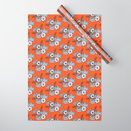 Orangey Gray Floral Wrapping Paper