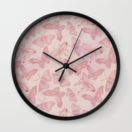 Butterfly Pattern soft pink pastel Wall Clock