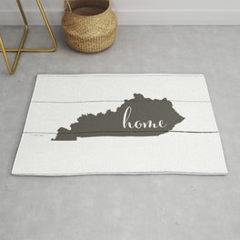 Kentucky is Home - Charcoal on White Wood Rug