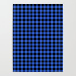 Classic Royal Blue Country Cottage Summer Buffalo Plaid Poster
