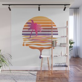 Retro striped sun and palm Wall Mural