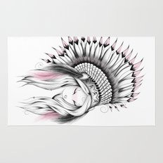 Indian Headdress Pink Version Rug