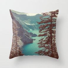 Mountains Forest Lake Water - Vintage Blue Crater Lake and Trees Throw Pillow