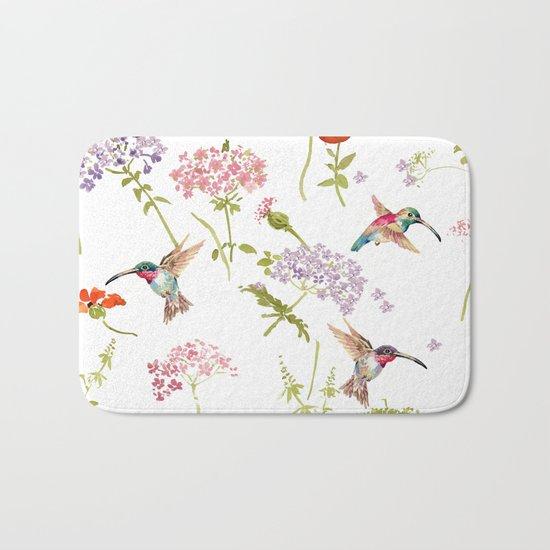 Hummingbird floral Bath Mat
