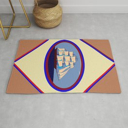 A Nautical Scene with Clipper Ship with Taupe Background Rug
