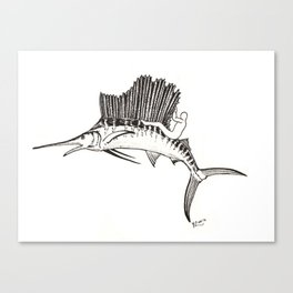 Surfing the fish Canvas Print