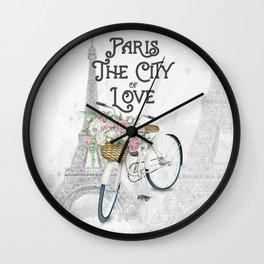 Vintage Paris Bicycle with Flowers Wall Clock