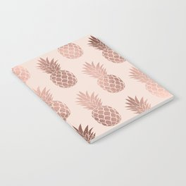 Girly Tropical Rose Gold Summer Pineapples Pattern Notebook