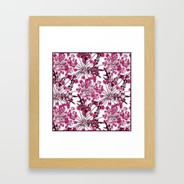 Laced crimson flowers on a white background. Framed Art Print