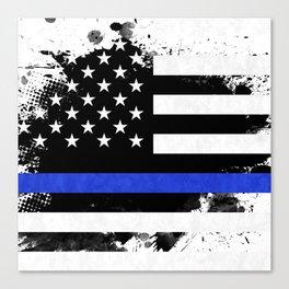 Distressed Thin Blue Line American Flag Canvas Print