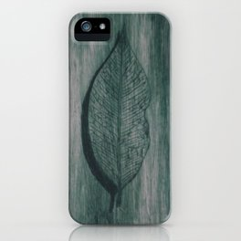 Grabado hoja verde iPhone Case