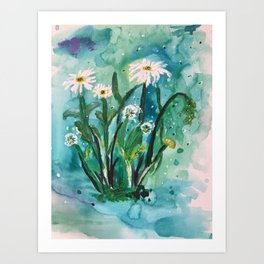 Watercolor Daisies Art Print