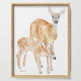 Mother and Baby Deer Watercolor Serving Tray