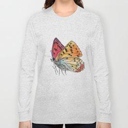 Butterfly Orange Red Purple Long Sleeve T-shirt